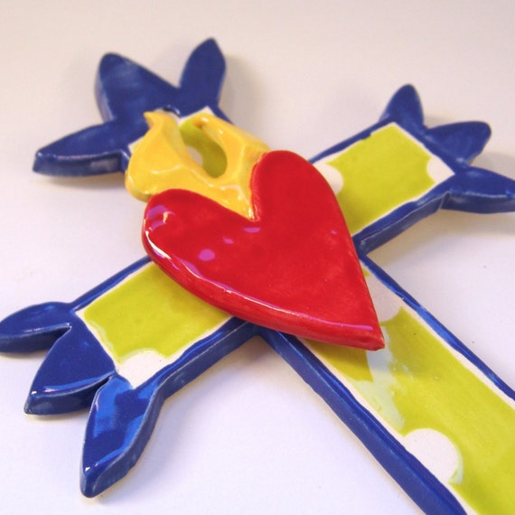 ceramic cross with sacred heart Delft Blue & Chartreuse whimsical polka-dots