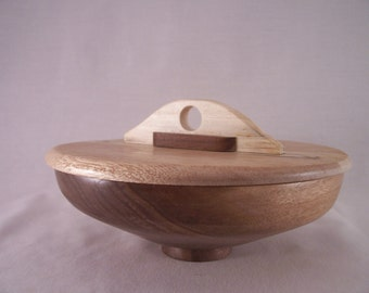 covered wood bowl