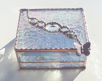 Iridescent Stained Glass Jewely Box with Inlaid Faceted Jewel and Glass Nuggets - Your Choice of Handle