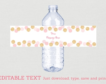 Blush Pink & Gold Water Bottle Labels / Glitter Bridal Shower / Glitter Dots / Glitter Confetti / INSTANT DOWNLOAD Editable PDF B107
