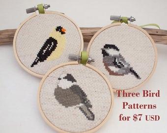 Three Bird Cross Stitch Pattern Bundle, Chickadee, Goldfinch, Gray Jay, pdf