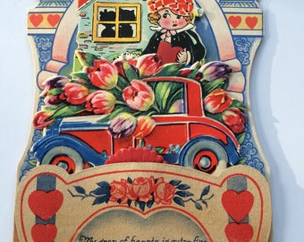 Art Deco Valentine Die Cut Boy with Dog 1920's automobile fold down honeycomb