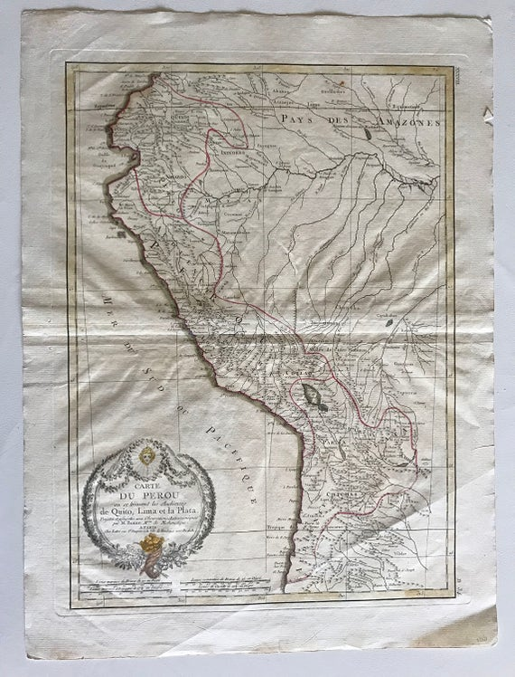 Phenomenal 1771 Map of Peru in French