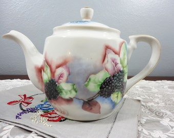 Vintage Blackberry and Leaf Porcelain Teapot - Hand Painted Blackberries, Red and Green Leaves - Unmarked