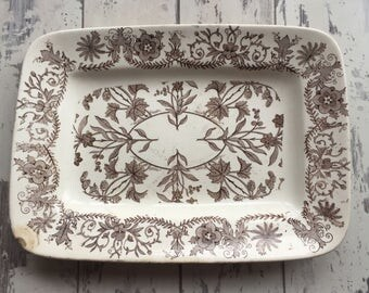 Vintage Aesthetic Transferware Platter - Brown and White Ironstone T & R Boote Early English Distressed Lahore
