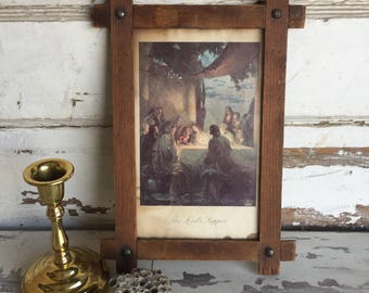 Vintage Jesus Print -Last Supper Louis Jambor- Religious Art - Black Forest Frame