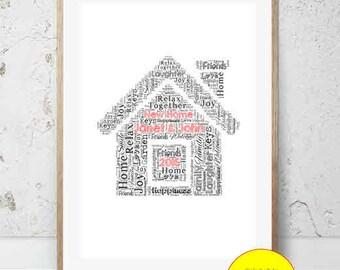 JPEG - Printable - New Home - House - Couple - House Warming - Home - Word Art - Custom - DIY Print