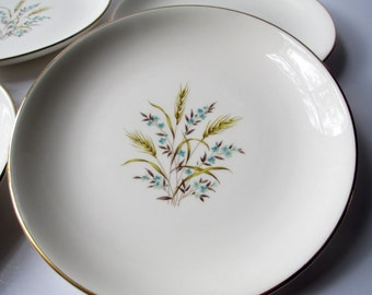 Vintage Canonsburg Wheat Tan Aqua Salad Plates Set of Four - Retro Chic