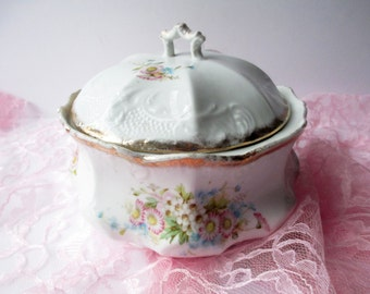 Vintage Biscuit Jar Pink Floral - Weddings Bridal