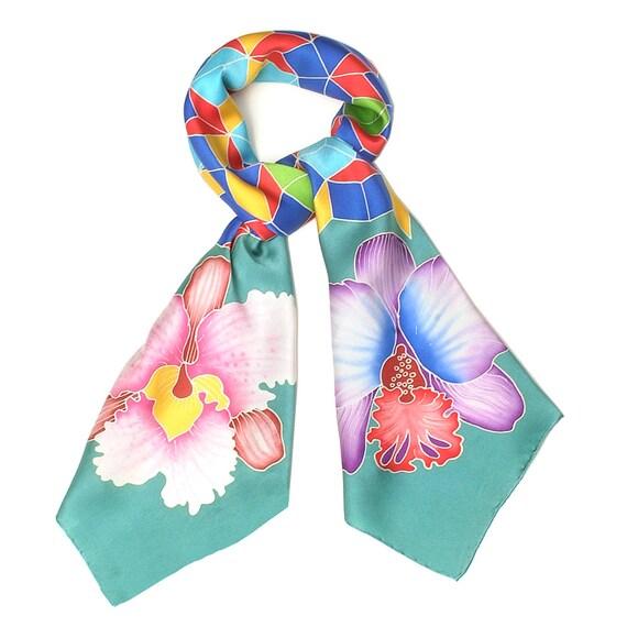 silk scarf Handpainted, Floral scarf, Square scarf, Handmade scarf, Orchid scarf, Batik Scarf, Women Silk Scarf, Unique scarf, Mandala scarf