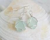 small sea glass earrings in pale green/sea foam – dangle earrings - eco friendly sea glass jewelry