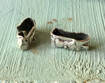 TWo Open Rectangular Links Sterling Silver