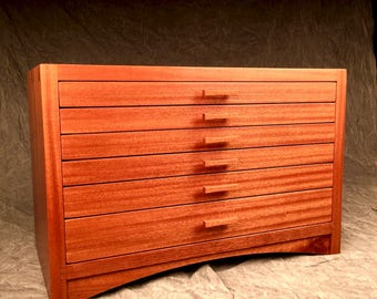Ribbon Sapele Extra Large Jewelry Box