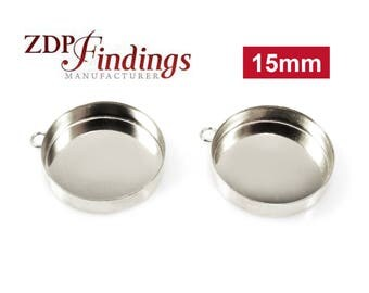6pcs x Round 15mm Bezel Cup Setting with Ring Sterling Silver 925 (RD151)