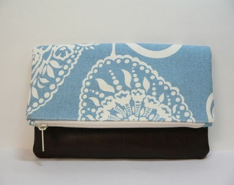 Envelope Clutch Blue and White Paisley