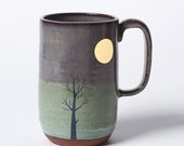 Tall Gold Moon & Winter Tree Mug