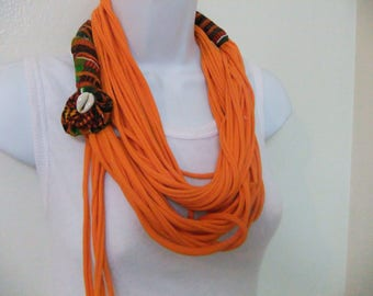 Embellished Multi-strand Infinity T-shirt Scarf Necklace Removable Kente Fabric Rosette