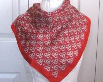 silk bandana .  red silk scarf  . silk scarf . red floral bandana  . little flower bandana  . little flower silk scarf
