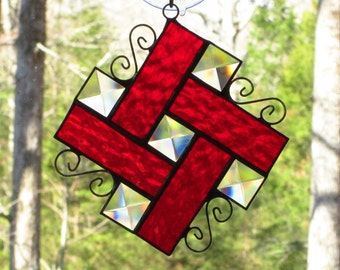 Stained Glass Suncatcher - Bevels with Red Textured Border and Curly Cue Wire