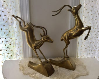 Brass Gazelles Rams Bookends Leaping Statues Sculpture Animal Pair Art Mid Century