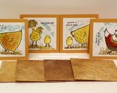 "Hey Chick Friend Notes 2...Set of (4) 3"" x 3"" note cards...4 handmade with designer paper envelopes...New Stampin'Up! Stamps...blank inside!"