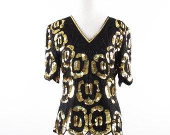 Vintage 1980s Formal Sequinned Gold and Black Top by Stenay Sz M B36
