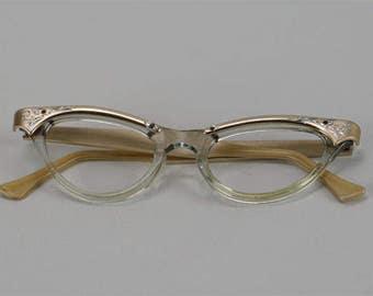 Vintage 1950s Eyeglasses Eye Glasses Pale Gold Etched Cateye Frames