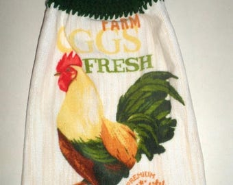 Blow Out Sale Hanging Towel, Crochet Top Towel, Rooster Towel, Farm Fresh Eggs, Country Towel,  Plush Thick Long Towel, Kitchen Dish Towel,