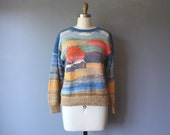 vintage van klee sweater / cotton novelty sweater / pullover sweater / small