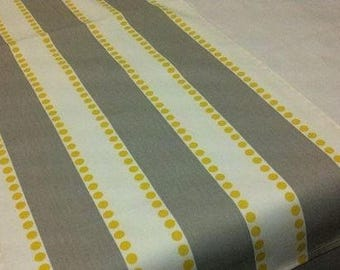 Stripe Runner-  Grey on White with Yellow Dots Striped Table Runner yellow and gray rpst