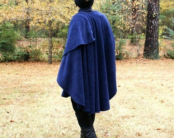 Navy Blue Shawl, Wrap, Cape,Ruana or Poncho in Anti Pill  Fleece--Lightweight Warmth--One Size Fits Many