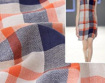 4453 - Gingham Yarn-Dyed Cotton Linen Blend Fabric - 55 Inch (Width) x 1/2 Yard (Length)