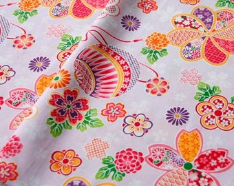4445 - Japanese Cherry Blossom Floral Cotton Fabric - 59 Inch (Width) x 1/2 Yard (Length)