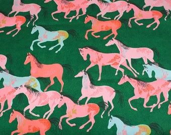 4493 - Cath Kidston Painted Horses (Green) Cotton Canvas Fabric - 57 Inch (Width) x 1/2 Yard (Length)