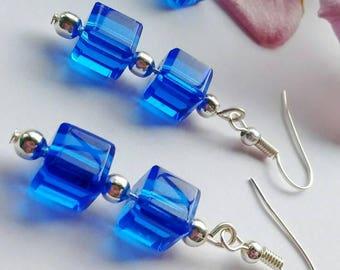 Blue Swarovski Earrings, Blue Cube Earrings, Cobalt Blue Earrings, Royal Blue Earrings, Blue Glass Earrings, Crystal Cube Earrings,
