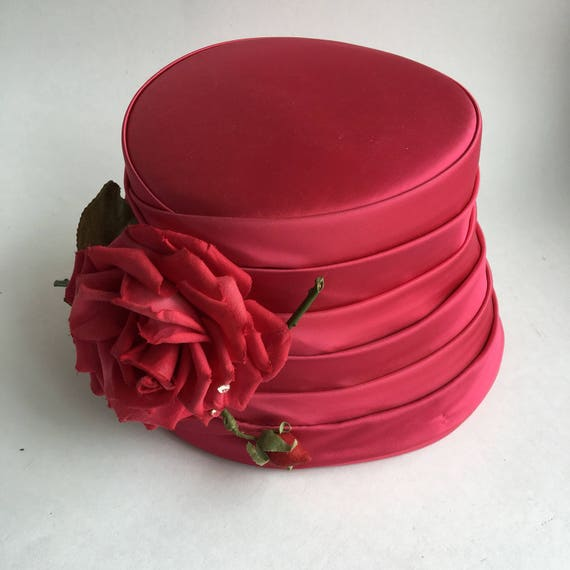 Vintage Red Satin Hat with Rose