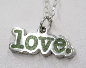 Silver Love Necklace Word Custom Pendant Sterling Silver