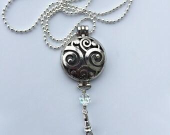 Swirl Locket necklace lanyard, round locket
