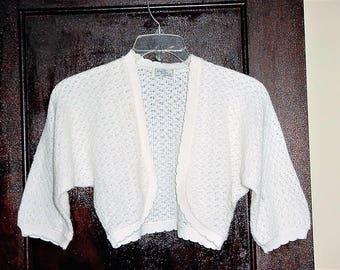 Vintage 50s Ladies Orlon Acrylic White Shrug Sweater Sm Cardigan