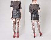 LEATHER MINI SKIRT black Short 90s minimal classic Small / 25 waist / size 3 / Xs better Stay together