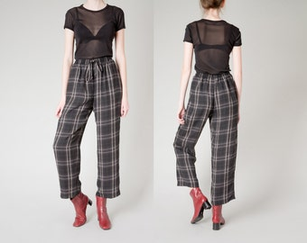 PLAID high waist PANTS loose relaxed Slacks trousers drawstring Pockets sheer vintage black white minimal / size 6 / better Stay together