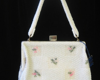 White Pink Green Vintage Deadstock Corde Bead Spring Handbag