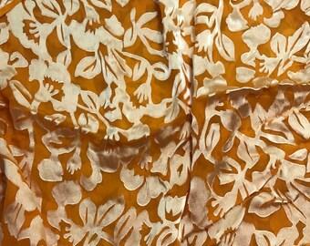 Burnout Devore Satin - Poppy Orange Hand Dyed Floral - 1 Yard