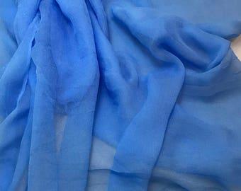 Silk Gauze Chiffon - Hand Dyed Cornflower Blue - 1/2 Yard