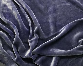 Blue Iris HAND DYED Silk Velvet Fabric fat 1/4
