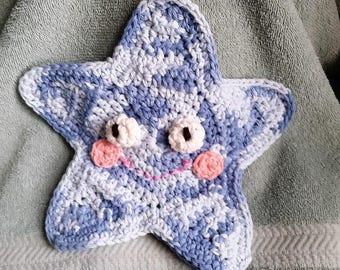 Blue Star Bath Mitt - Crocheted, Bath Mitt, Puppet, Kids washcloth,Baby Shower gift, New Baby, Blue, Baby Boy