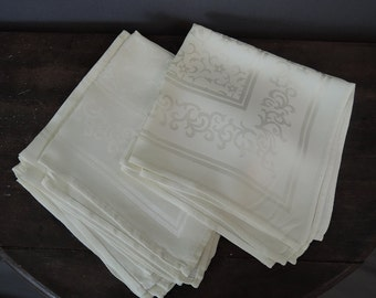 6 Vintage Damask Napkins Rayon Ivory Floral, 1940s 1950s , 14x14 inches Unused