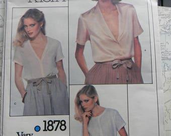 Vintage Vogue Misses Blouse Pattern #1878 Uncut Size 16