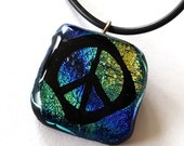 Peace Sign Necklace, Dichroic Glass Pendant, Peace Symbol, Peace Sign Pendant, Retro Jewelry, Handmade in USA, Mens Jewelry, Groovy