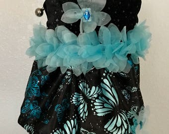 Small  Princess Harness Dog Dress-Chihuahua Clothes-Butterfly's-Beaded Dress-Dog-Puppy-Yorkie Clothes